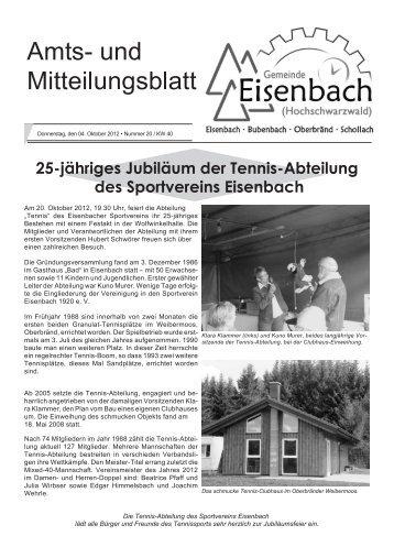 25-jähriges Jubiläum der Tennis-Abteilung des Sportvereins ...