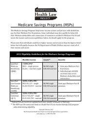 Medicare Savings Program Guide 2012 - Pennsylvania Health Law ...