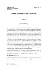 Structure et évolution de l'emploi public belge - Bureau fédéral du Plan
