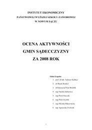 OCENA AKTYWNOŚCI GMIN SĄDECCZYZNY ZA 2008 ROK
