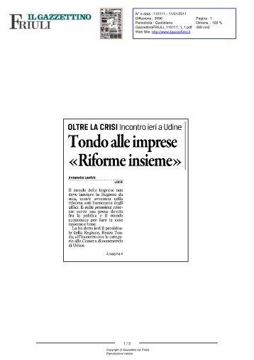 Gazzettino ed. Friuli (Il) N° 110111 - 11/01/2011 - 1 - la Presidente