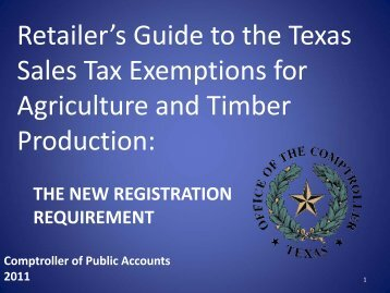 Retailer's Guide to the Texas Sales Tax Exemptions for Agriculture ...