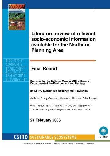 Literature review of relevant socio-economic ... - River Consulting