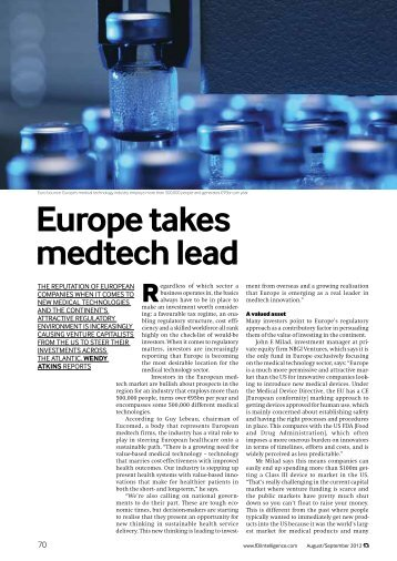 Financial Times - Europe takes medtech lead - Eucomed