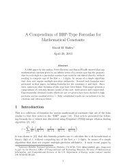 A Compendium of BBP-Type Formulas for ... - David H Bailey
