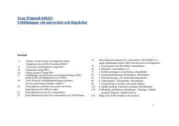 Utbildningar vid universitet och högskolor - Wimnells