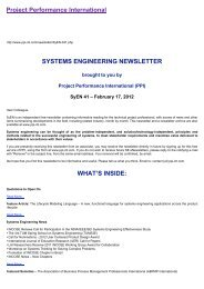 SYSTEMS ENGINEERING NEWSLETTER - Project Performance ...