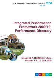 Performance Directory - Royal Shrewsbury Hospitals NHS Trust