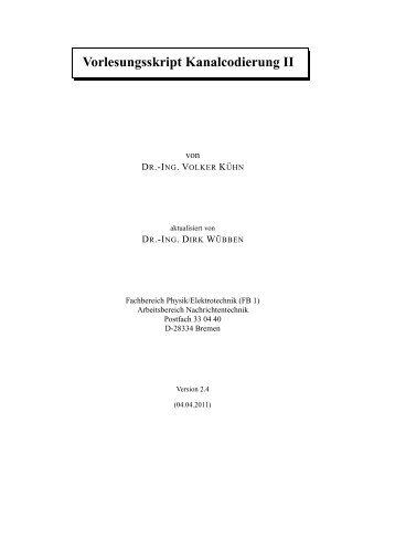 Vorlesungsskript Kanalcodierung II - Universität Bremen