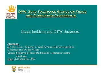 Fraud Incidents and DPW Successes: - Department of Public Works