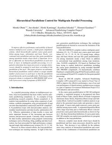 Hierarchical Parallelism Control for Multigrain Parallel Processing