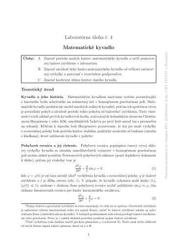 Laboratórna úloha č. 4 Matematické kyvadlo