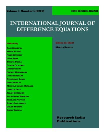 international journal of difference equations - Research India ...