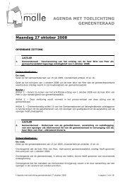 AGENDA MET TOELICHTING GEMEENTERAAD - Gemeente Malle