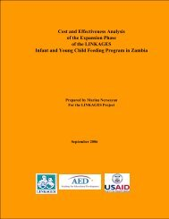 Cost and Effectiveness Analysis of the Expansion ... - Linkages Project