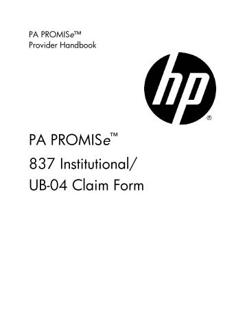 pa promiseâ 837 professional cms 1500 claim form