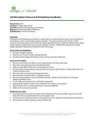 Job Description: Resource & Scheduling Coordinator - College Park ...