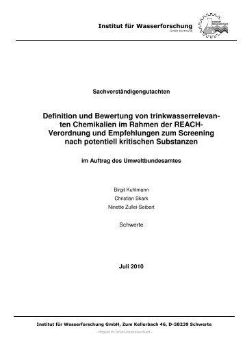 ten Chemikalien im Rahmen der REACH- Verordnung und ...