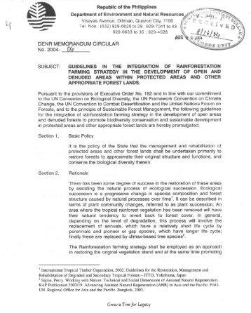 Memorandum - Forest Management Bureau - DENR