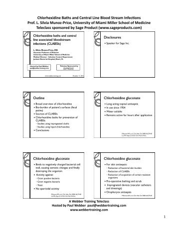 Chlorhexidine Baths and CLABSI Teleclass ... - Webber Training