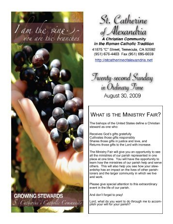 WHAT IS THE MINISTRY FAIR? - St. Catherine of Alexandria