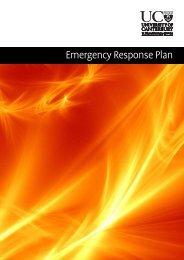 UC Emergency Response Plan - University of Canterbury