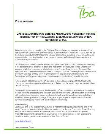 Press release | - IBA Industrial