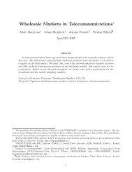 Wholesale Markets in Telecommunications - (SES) de Telecom ...