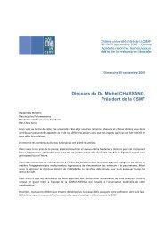 Discours du Dr. Michel CHASSANG, Président de la CSMF