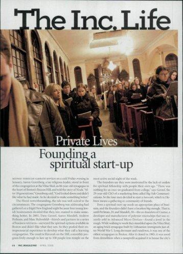 Founding a spiritual start-up - The Vilna Shul