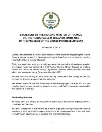 statement by premier and minister of finance dr. the honourable d ...