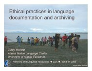 Ethical practices in language documentation and archiving - Open ...