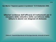 Ulteriori evidenze dell'efficacia di trattamenti per il recupero della ...