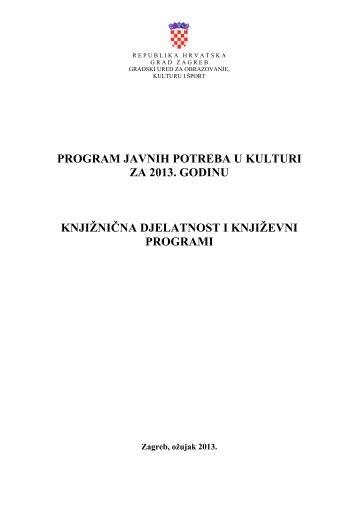 knjižnična djelatnost i književni programi - Zagreb.hr