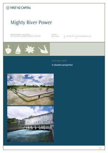 Title: Valuation Report 2010 - Mighty River Power - First NZ ...