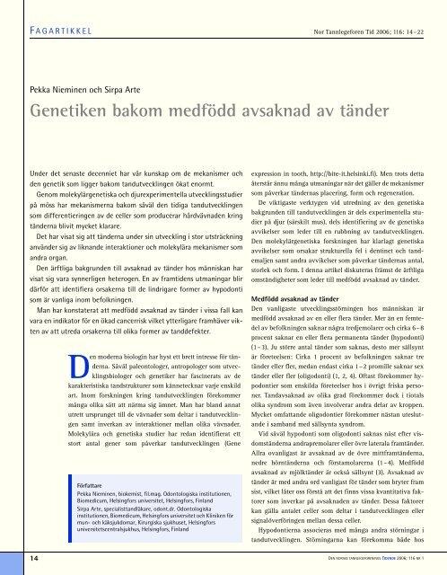Genetiken bakom medfödd avsaknad av tänder - Den norske ...