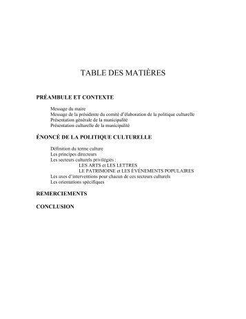 TABLE DES MATIÈRES - Ministère de la Culture et des ...