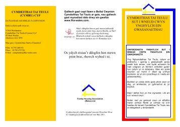 Cliciwch yma i lawrlwytho taflen - Family Housing Association (Wales)