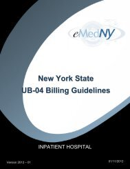 Inpatient Billing Guidelines 2012-1 - eMedNY