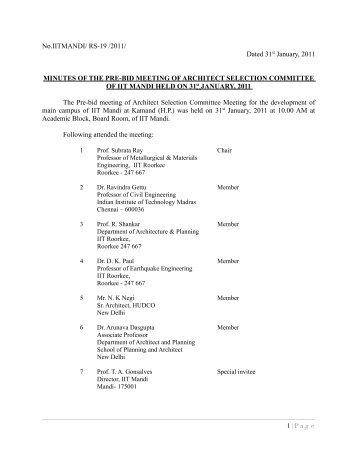 Minutes of the Pre-bid meeting held on 31/01/2011 - IIT Mandi