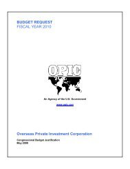 FY 2010 Budget Request - Overseas Private Investment Corporation