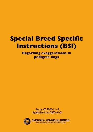 Special Breed Specific Instructions (BSI) - Svenska Kennelklubben