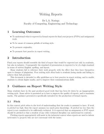 report style essay