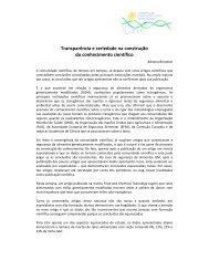 Transparência e seriedade na construção do conhecimento ... - CIB