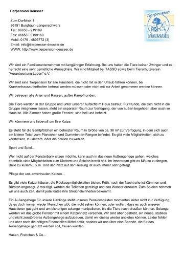 Tierpension Deusser Zum Dorfblick 1 36151 Burghaun ...