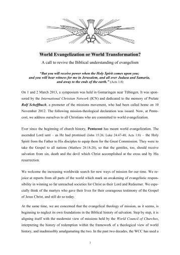 World Evangelisization or World Transformation
