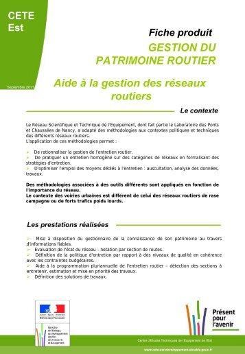 Aide à la gestion des réseaux routiers - Le CETE de l'Est