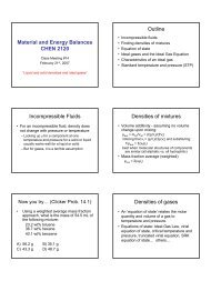 Material and Energy Balances CHEN 2120 Outline ... - cribME!