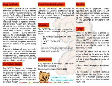 PNCCT 2006 Brochure - UMBC Department of Emergency Health ...