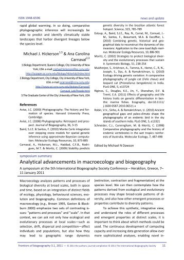 Analytical advancements in macroecology and biogeography - The ...